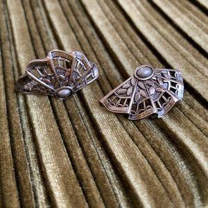 Silver Fan clip-on earrings